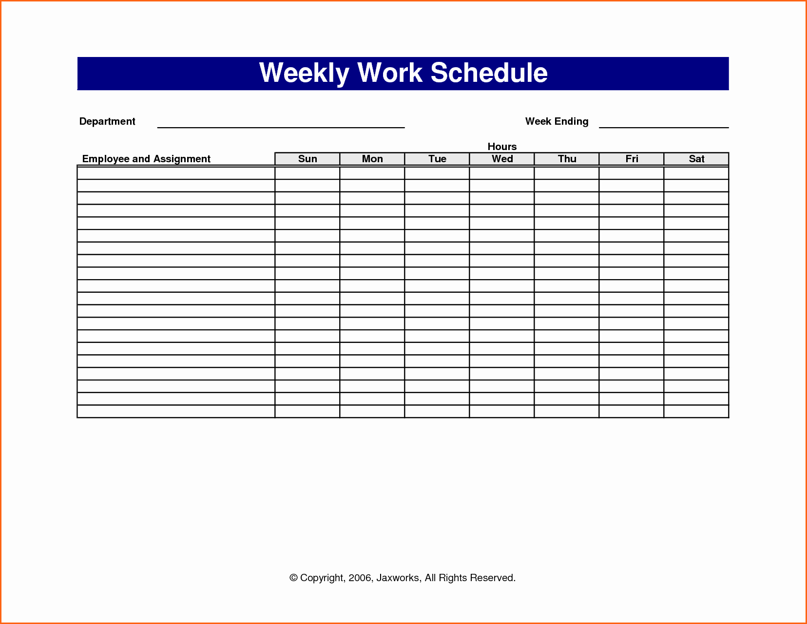 Monthly Work Schedule Template Excel Unique 6 Weekly Work Schedule Template Excel Bud Template