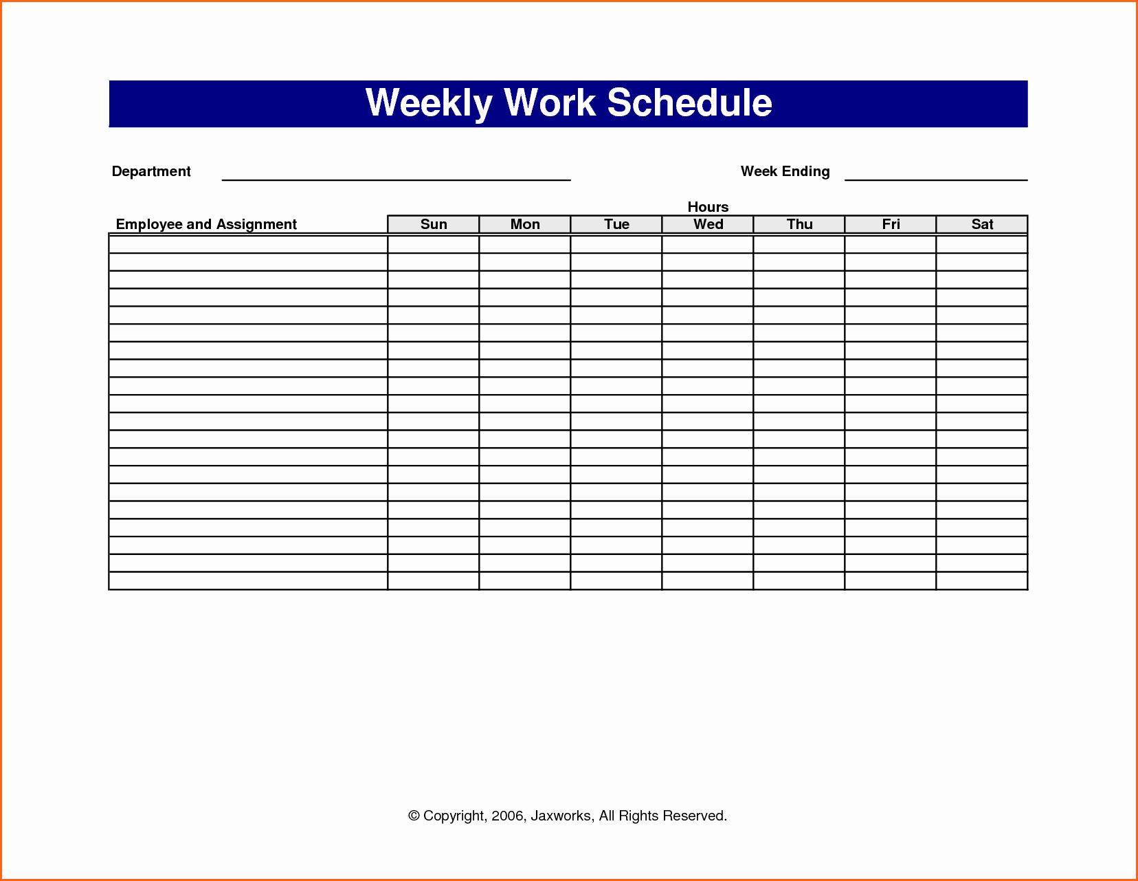 Monthly Work Schedule Template Excel Unique 6 Weekly Work Schedule Template Excel Bud Template