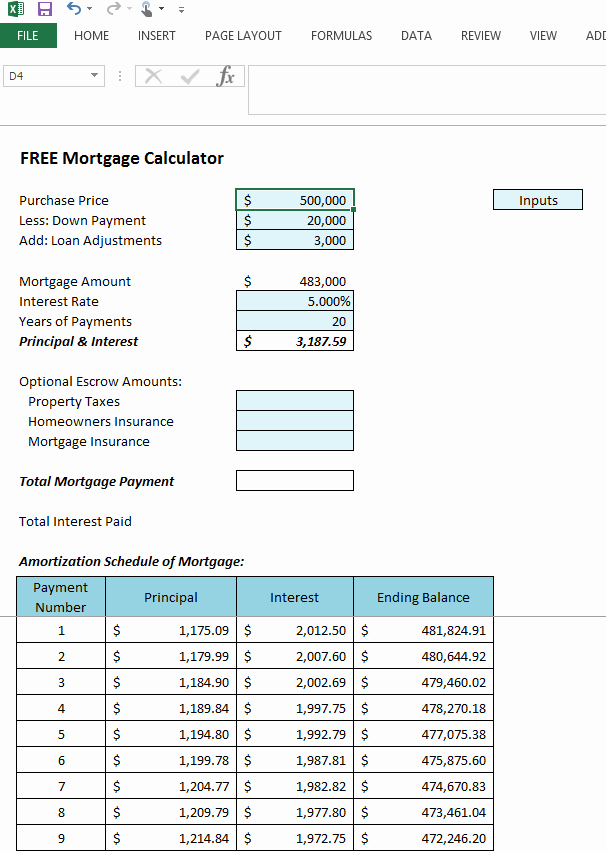 Mortgage Interest Amortization Schedule Excel Awesome Excel Mortgage Amortization Table Download 7