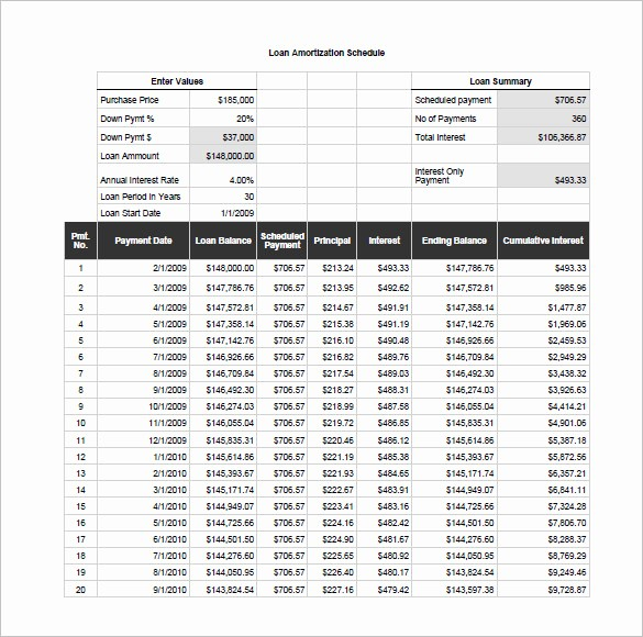 Mortgage Interest Amortization Schedule Excel Unique Excel Loan Amortization Schedule Download Printable