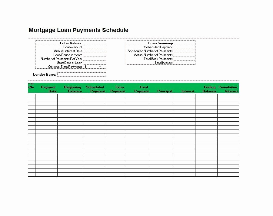 Mortgage Payment Schedule Calculator Excel Beautiful 28 Tables to Calculate Loan Amortization Schedule Excel