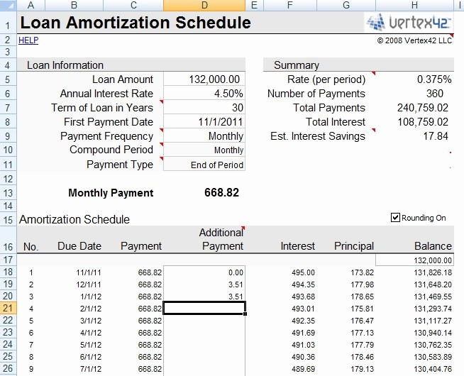 Mortgage Payment Schedule Calculator Excel Inspirational Amortization Calculator Excel Spreadsheet