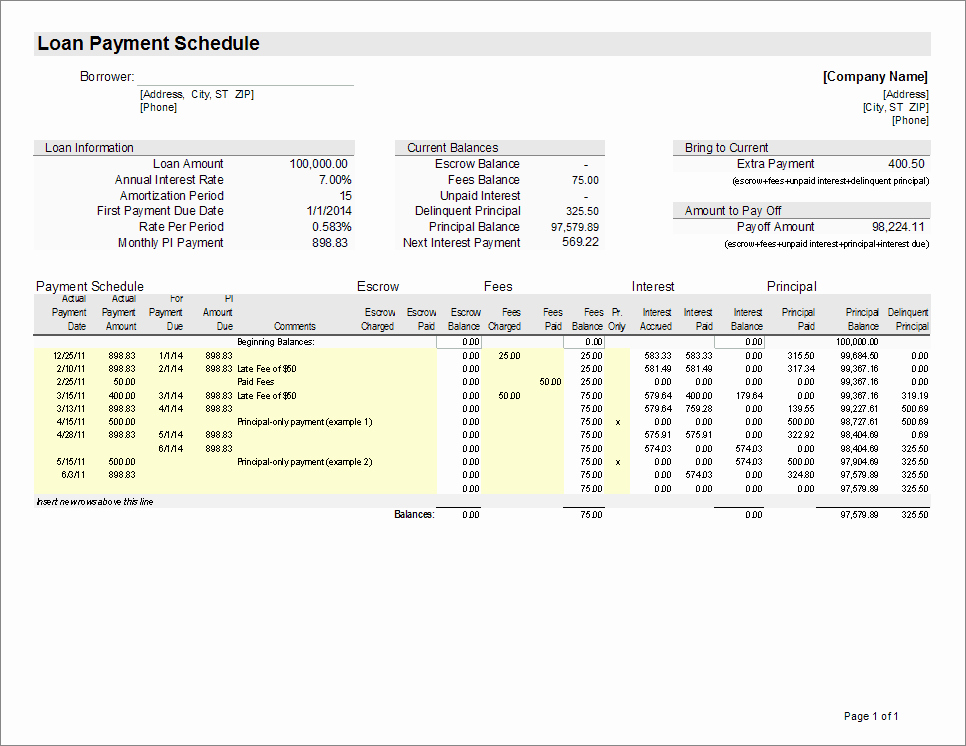 Mortgage Payment Schedule Calculator Excel New Excel Loan Amortization Template Download Excel Loan