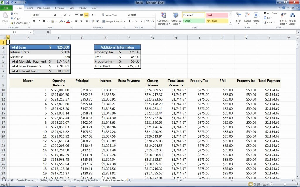 Mortgage Payment Schedule Calculator Excel New Mortgage Loan Calculator Using Excel