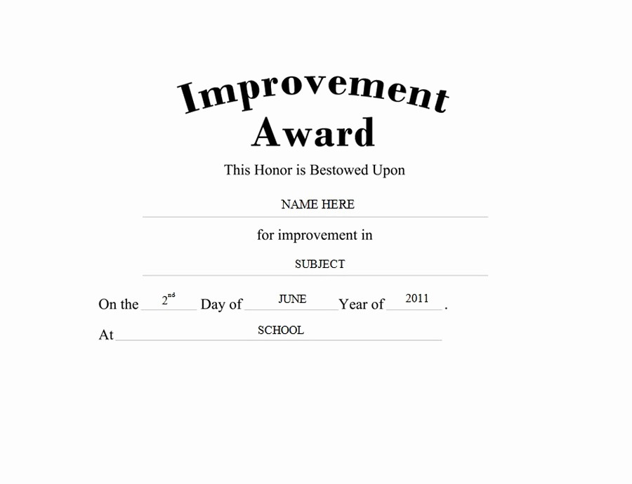 Most Improved Student Award Wording Best Of Awards Free Templates Clip Art & Wording