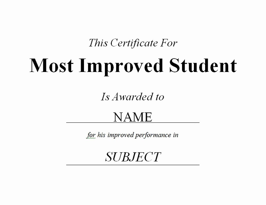 Most Improved Student Award Wording Lovely Most Improved Student Certificate 2