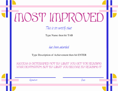 Most Improved Student Award Wording Luxury Gag Award