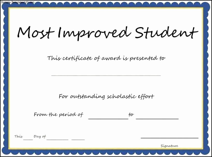 Most Improved Student Award Wording New Certificate Templates October 2016