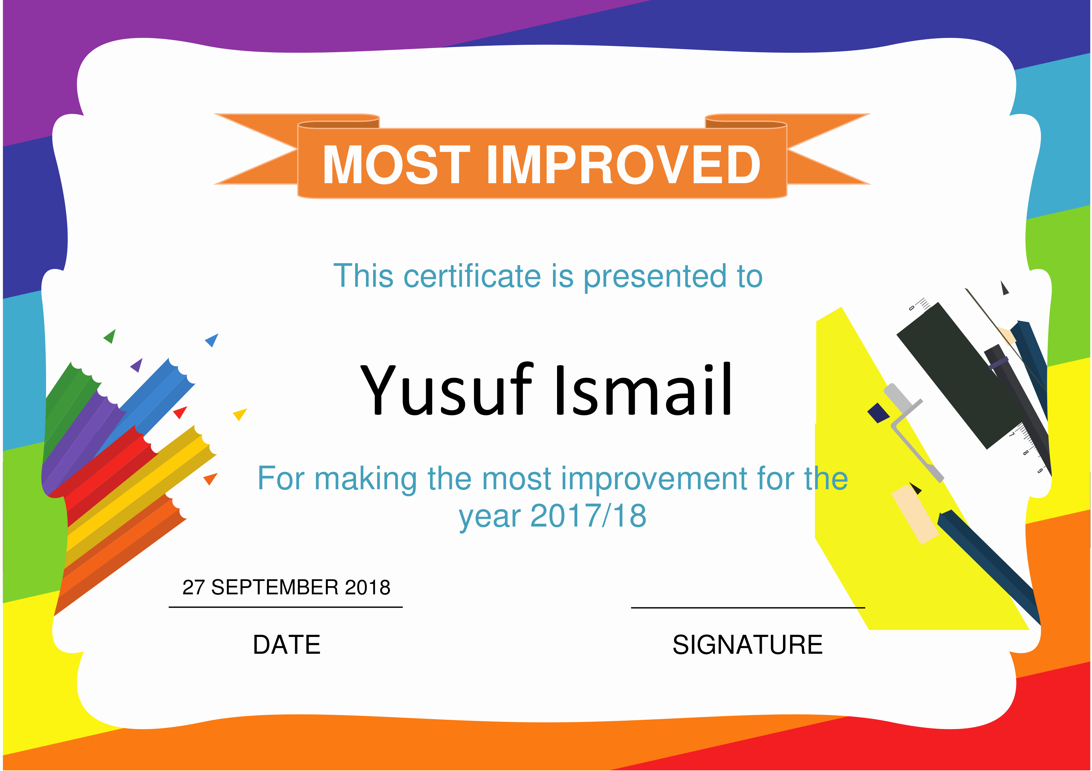 Most Improved Student Award Wording New Most Improved Award Certificate Free Printable Most