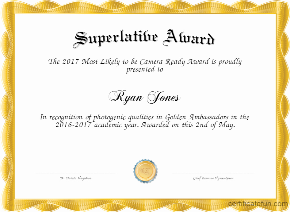 Most Likely to Awards Template Beautiful Superlative