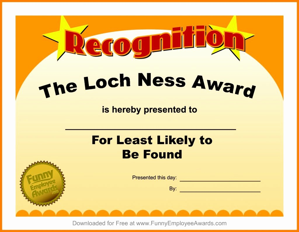 Most Likely to Awards Template Best Of Resume Responsibilities Award Certificate Template Funny