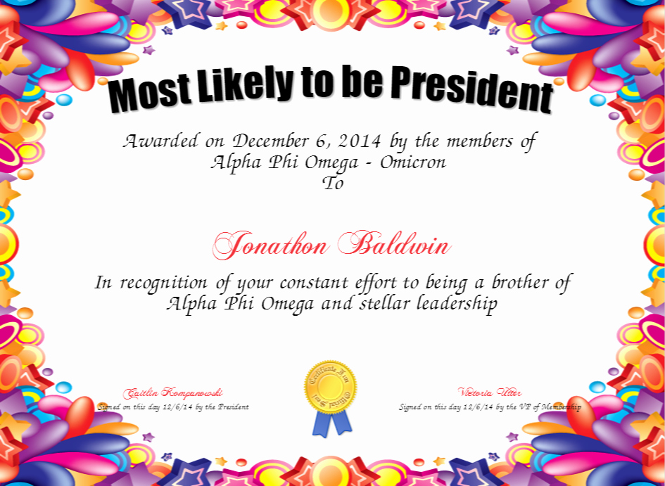 Most Likely to Awards Template Elegant Most Likely to Awards Template to Pin On