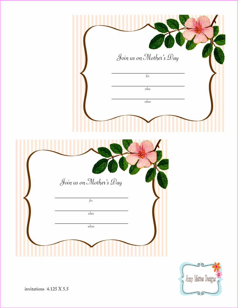 Mother Day Card Templates Free Fresh Free Mother S Day Printables From Amy Mattes Designs