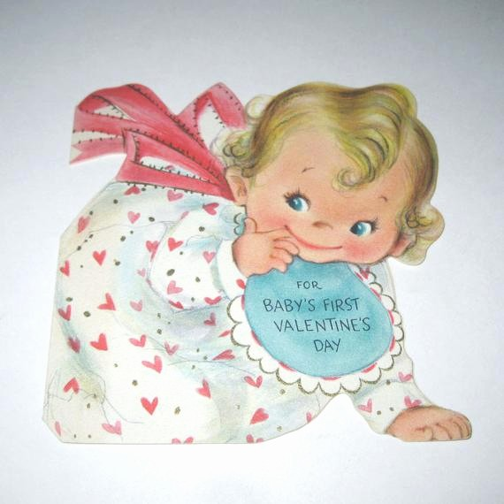 Mother's Day Card From Baby Lovely Vintage Baby S First Valentine S Day Greeting Card