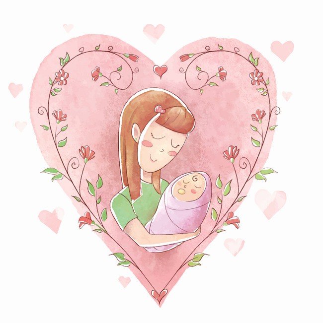 Mother's Day Card From Baby Unique Vector Newborn Baby Baby Clipart Mother S Day Heart