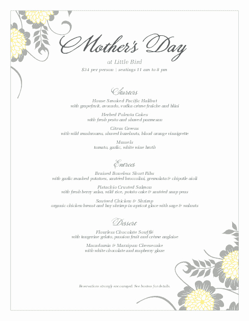 Mother's Day Menu Template Word Beautiful Menu for Mothers Day