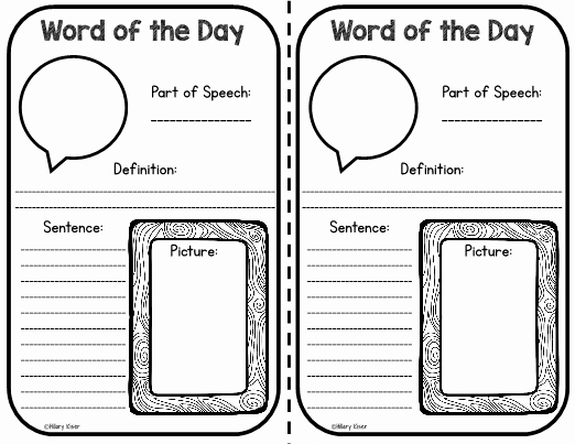 Mother's Day Menu Template Word Inspirational Word Of the Day Template 3rd Grade