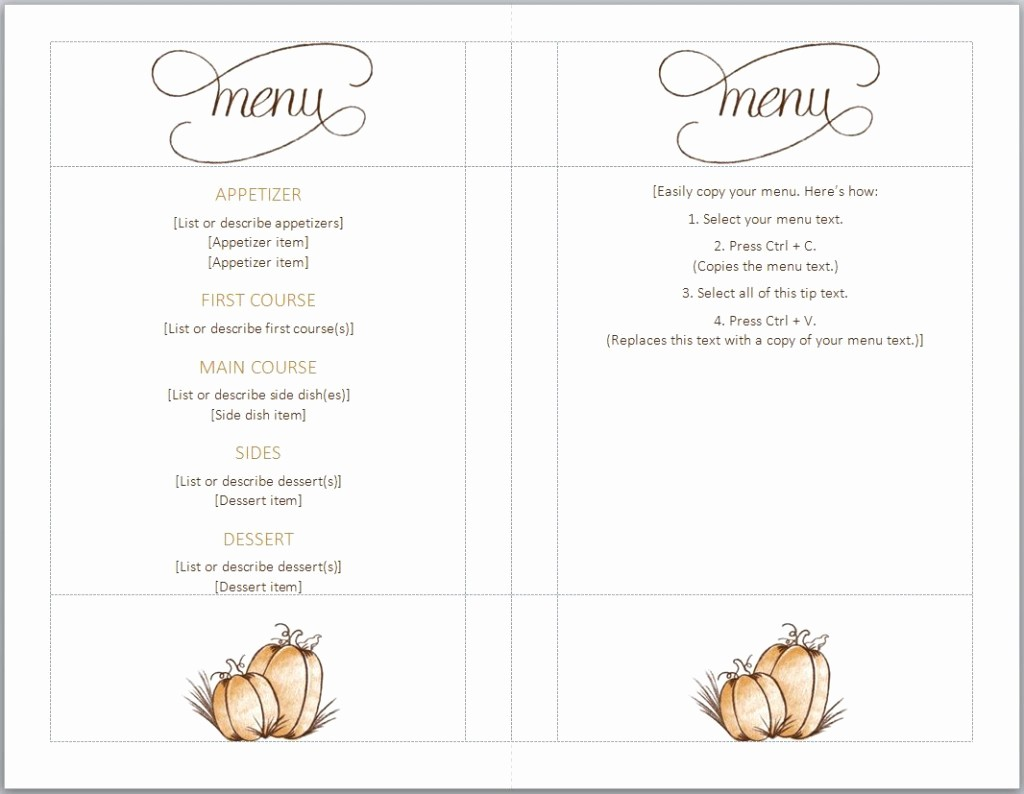 Mother's Day Menu Template Word Lovely Thanksgiving Menu Template