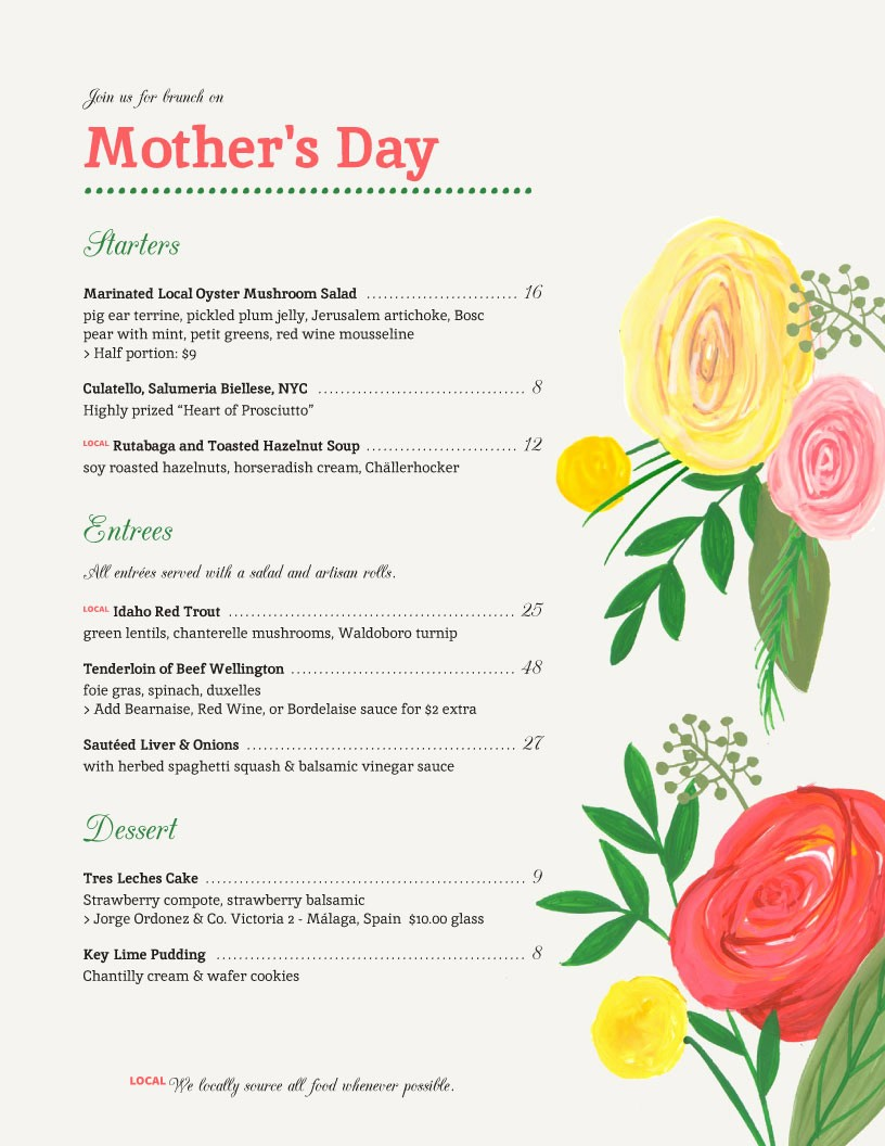 Mother's Day Menu Template Word New Holiday Menu Templates From Imenupro More Than Just