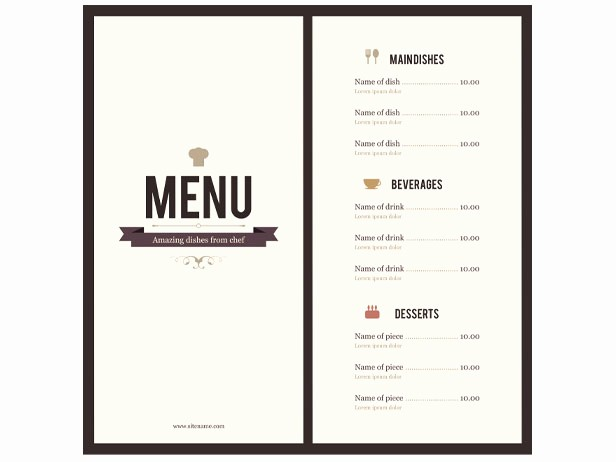 Mother's Day Menu Template Word New Menu Template Word
