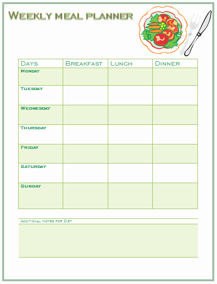 Mother's Day Menu Template Word New Perfect Meal Planning Template for You and Your Family