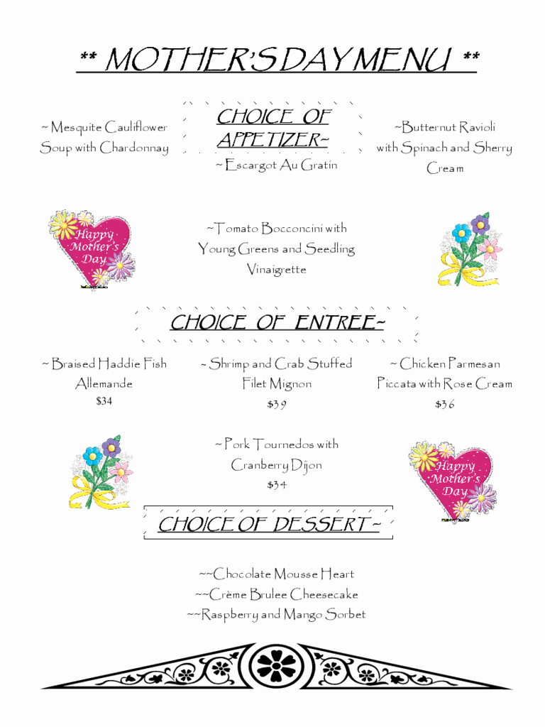 Mother's Day Menu Template Word Unique Mother S Day Menu Template 2 Free Templates In Pdf Word