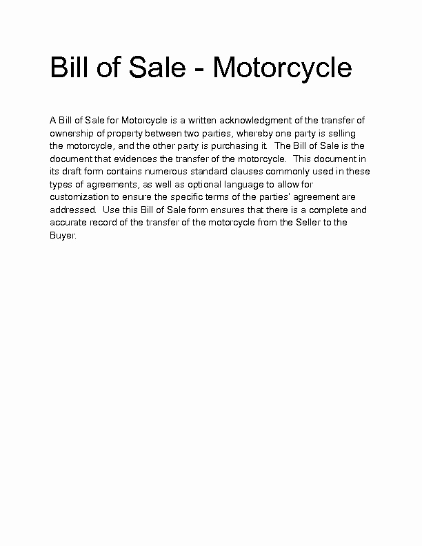 Motorcycle Bill Of Sale Example Best Of Motorcycle Bill Sale Template 9 Free Word Pdf