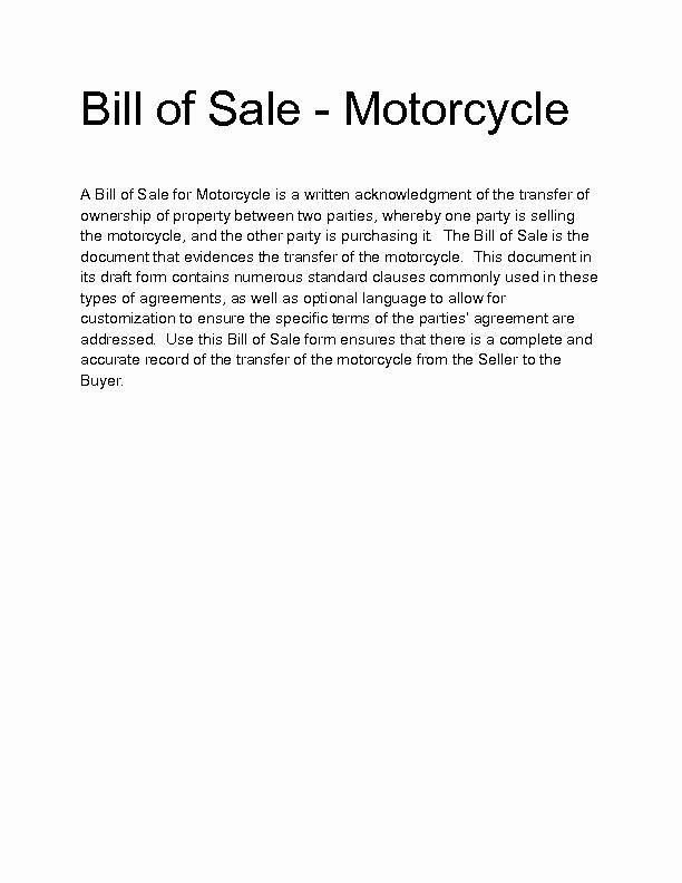 Motorcycle Bill Of Sale Example Best Of Motorcycle Bill Sale Template 9 Free Word Pdf