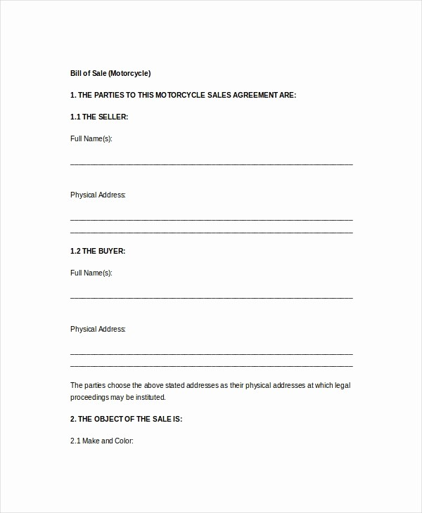 Motorcycle Bill Of Sale Example Inspirational Vehicle Bill Of Sale Template 14 Free Word Pdf