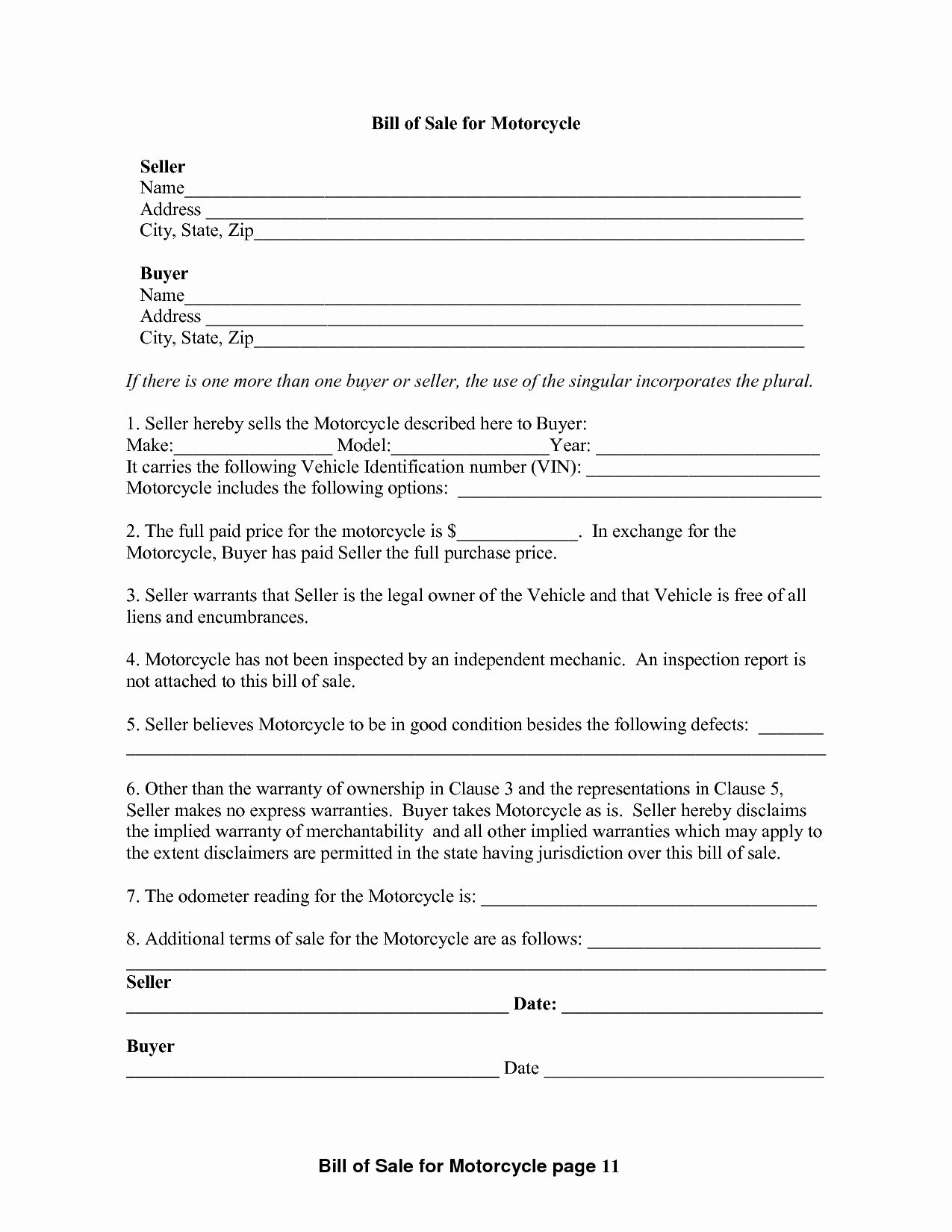 Motorcycle Bill Of Sale Example Luxury Free Printable Motorcycle Bill Of Sale form Generic
