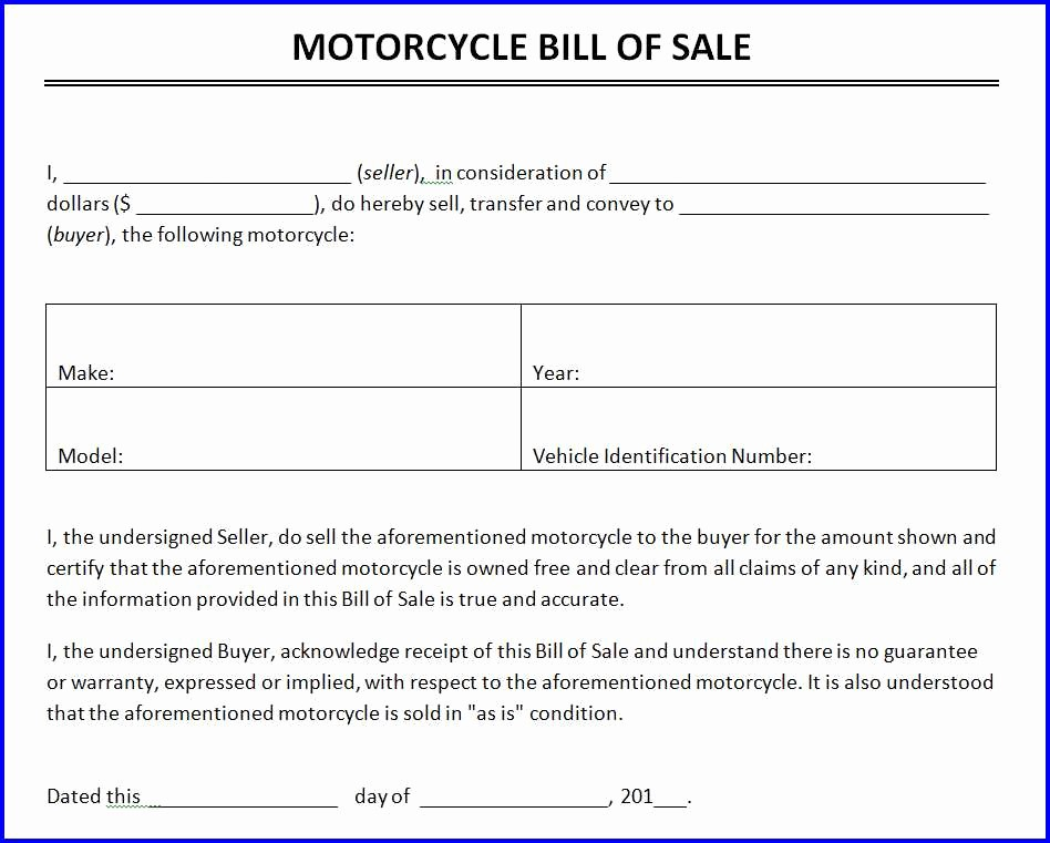 Motorcycle Bill Of Sale Example New Motorcycle Bill Of Sale Template Ms Word Templates Ms