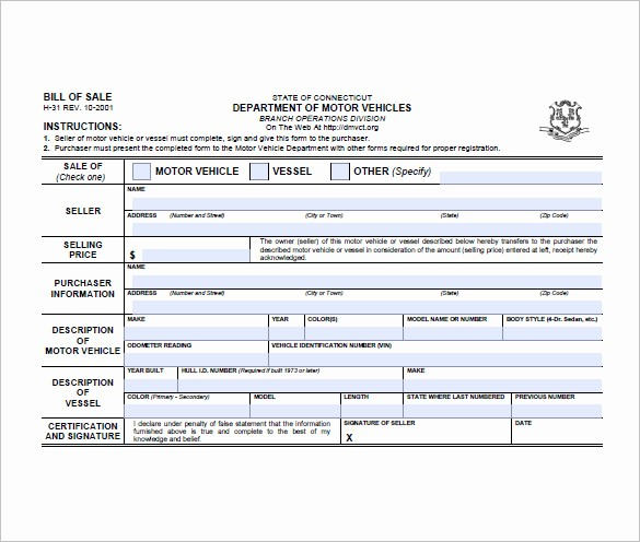 Motorcycle Bill Of Sale Example Unique Bill Of Sale form – 10 Free Word Excel Pdf format