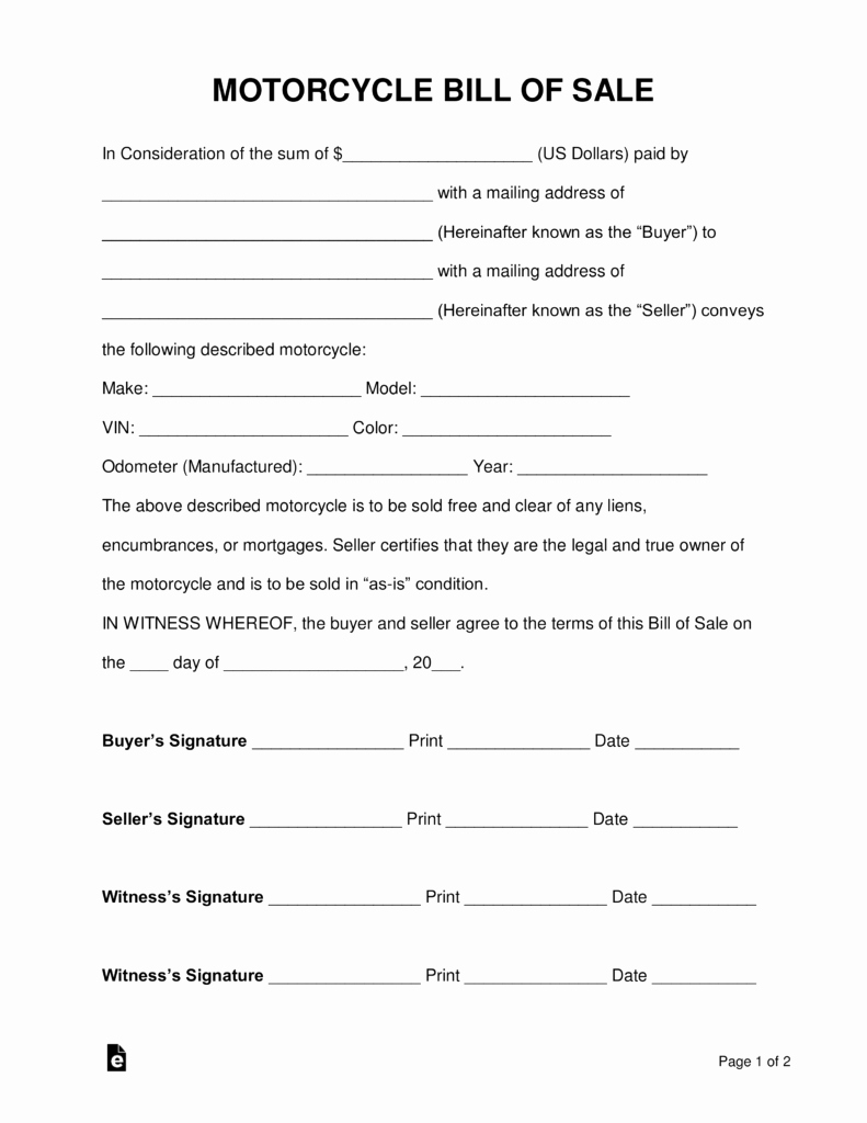 Motorcycle Bill Of Sale Example Unique Free Motorcycle Bill Of Sale form Pdf Word