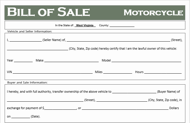 Motorcycle Bill Of Sale Example Unique Free West Virginia Motorcycle Bill Of Sale Template F