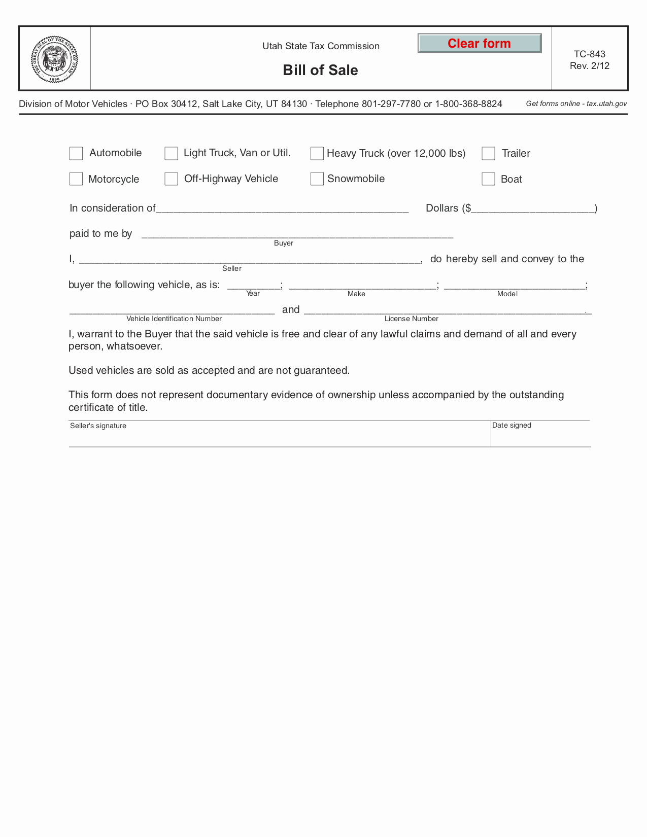 Motorcycle Bill Of Sale Illinois Lovely Free Utah Bill Of Sale form Pdf Template