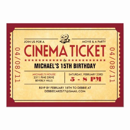 Movie Premiere Invitation Template Free Best Of Retro Movie Ticket Invitations