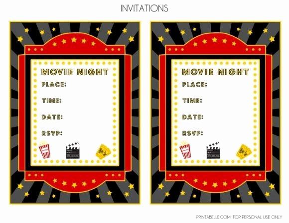 Movie Premiere Invitation Template Free Elegant Free Movie Night Party Printables by Printabelle