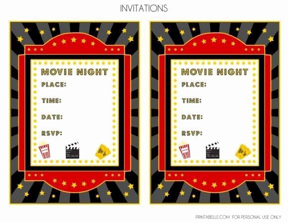 Movie Premiere Invitation Template Free Elegant Free Movie Night Party Printables by Printabelle