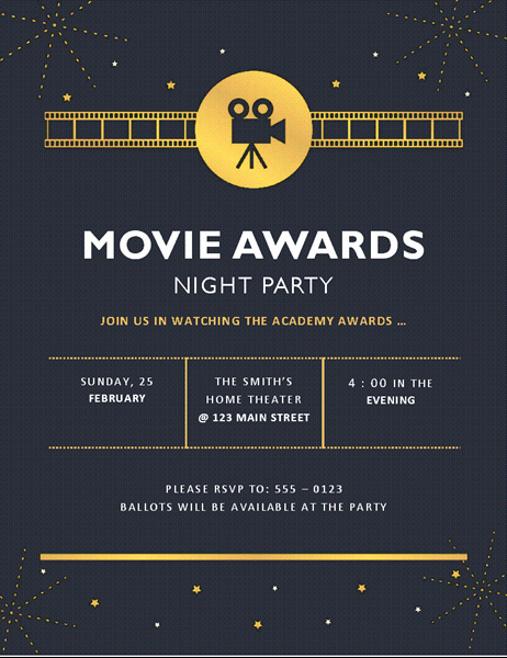 Movie Premiere Invitation Template Free Inspirational Movie Awards Party Invitation Inspirational Movie Premiere