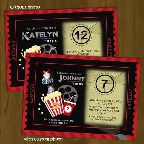 Movie Premiere Invitation Template Free Lovely Movie Night Printable Birthday Invitation Card Diy