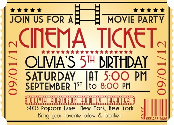 Movie Premiere Invitation Template Free Luxury Items Similar to Movie Night Birthday Party themed