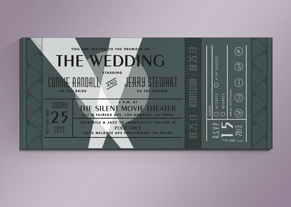 Movie Premiere Invitation Template Free Unique Diy Vintage Movie Premiere Ticket Wedding by Noblesthart