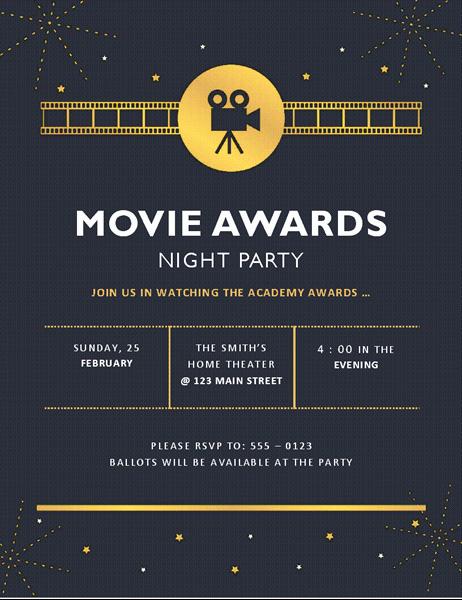 Movie Premiere Invitation Template Free Unique Movie Awards Party Invitation