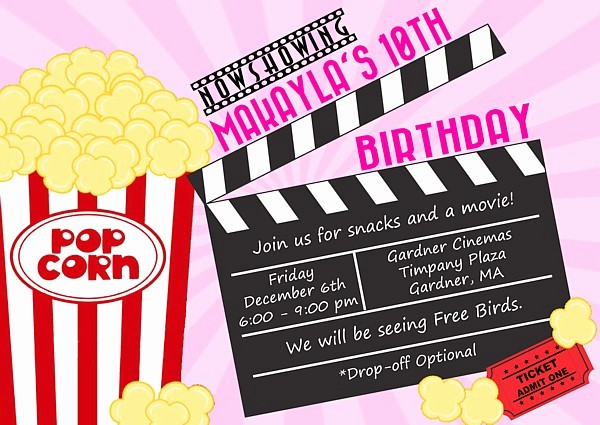 Movie themed Invitation Template Free Awesome Movie themed Birthday Party Invitations Movies