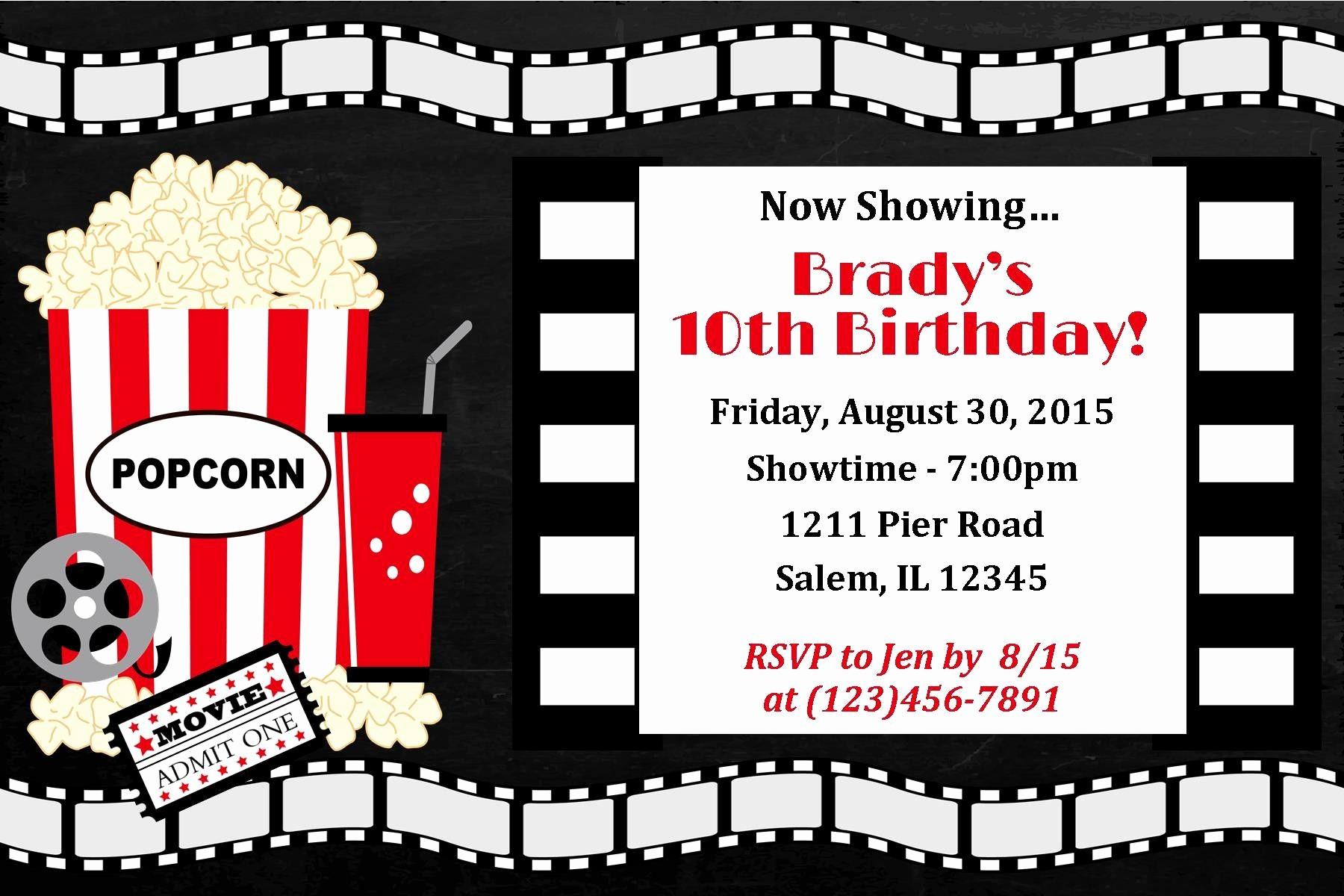 Movie themed Invitation Template Free Beautiful Einladung Geburtstag Kino Vorlage