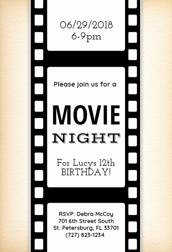 Movie themed Invitation Template Free Beautiful Movie Night Invitation Template Free