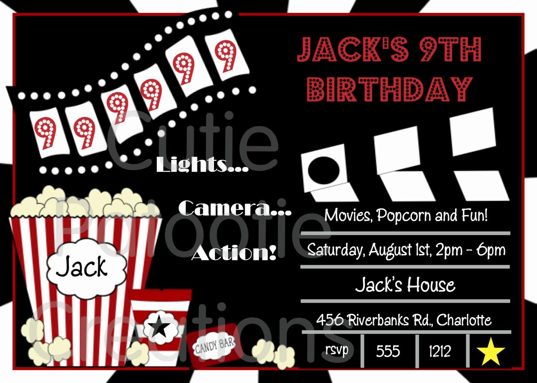 Movie themed Invitation Template Free Beautiful Movie theme Birthday Party Invitation