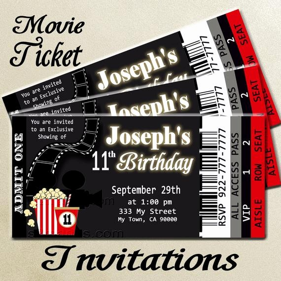 Movie themed Invitation Template Free Beautiful Movie Ticket Red Carpet Party Invitation by M2mpartydesigns