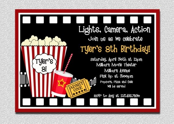 Movie themed Invitation Template Free Best Of Movie Birthday Invitation Movie Night Birthday Party