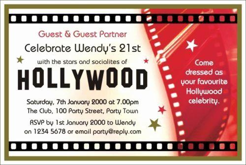 Movie themed Invitation Template Free Elegant 40th Birthday Ideas Hollywood Birthday Invitation